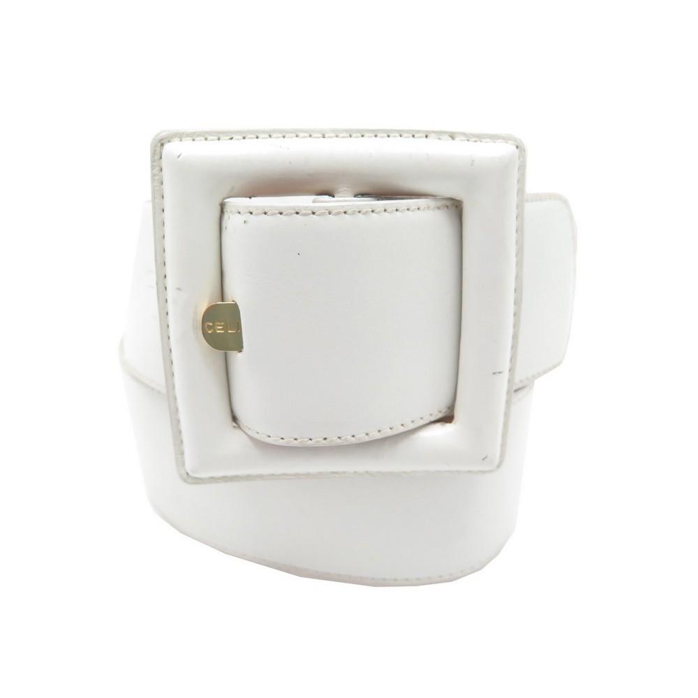 bc6b63bb756f ceinture celine large boucle carre t 70 en cuir blanc