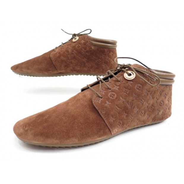 NEUF CHAUSSURES BASKET LOUIS VUITTON 39 PACE SNEAKERS BOOTS DAIM MARRON 590€