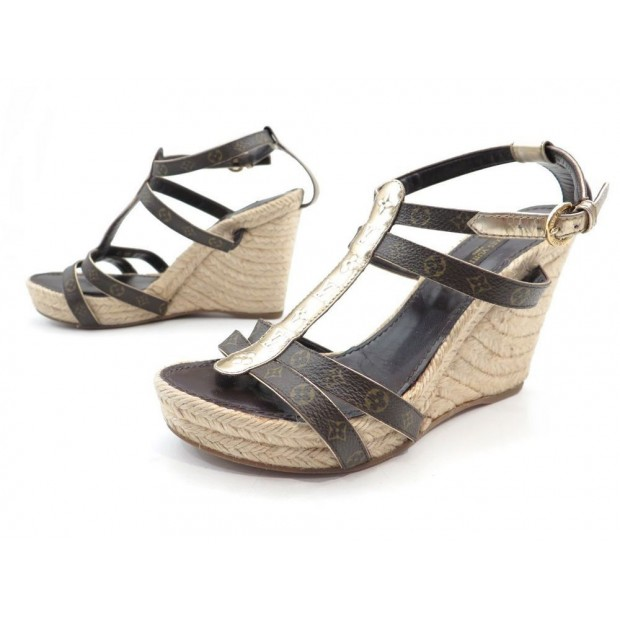 CHAUSSURES LOUIS VUITTON SANDALES COMPENSEES 37 TOILE MONOGRAM SANDAL SHOES 680€