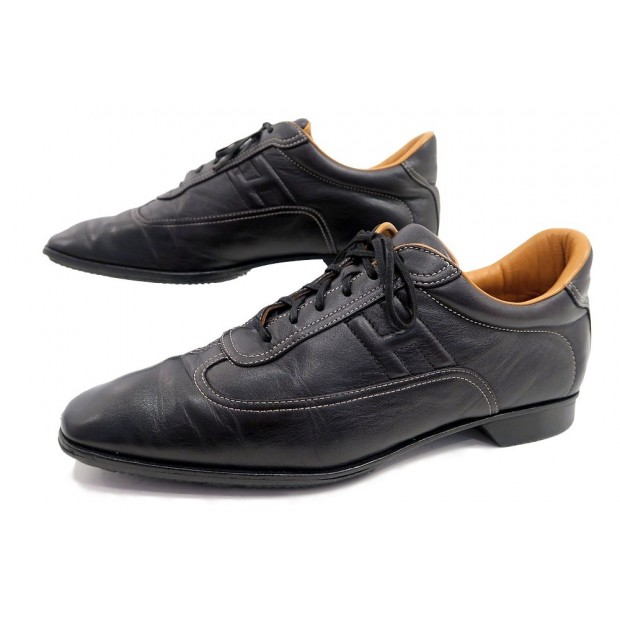 CHAUSSURES HERMES H BASKETS 39.5 SNEAKERS CUIR NOIR FEMME LEATHER SHOES 600€