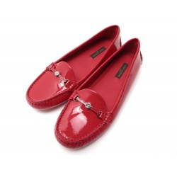 NEUF CHAUSSURES LOUIS VUITTON 34.5 35 MOCASSINS CUIR VERNI ROUGE RED SHOES 450€