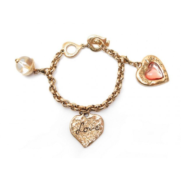 BRACELET A BRELOQUE YVES SAINT LAURENT PARIS JE T'AIME LOVE EN METAL DORE CHARMS