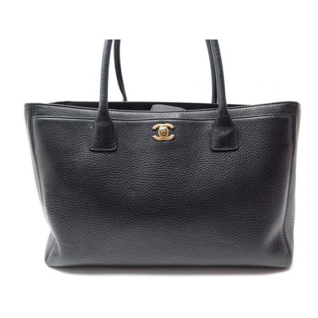 SAC A MAIN CHANEL SHOPPING CERF CABAS EN CUIR GRAINE NOIR BLACK BAG PURSE 2200€