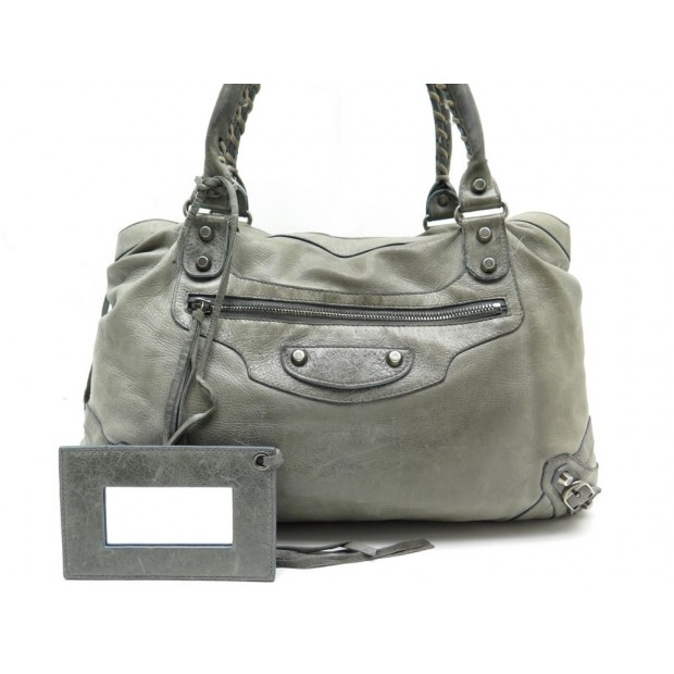 SAC A MAIN BALENCIAGA 128522 EN CUIR GRIS GRAY LEATHER HAND BAG PURSE 1450€
