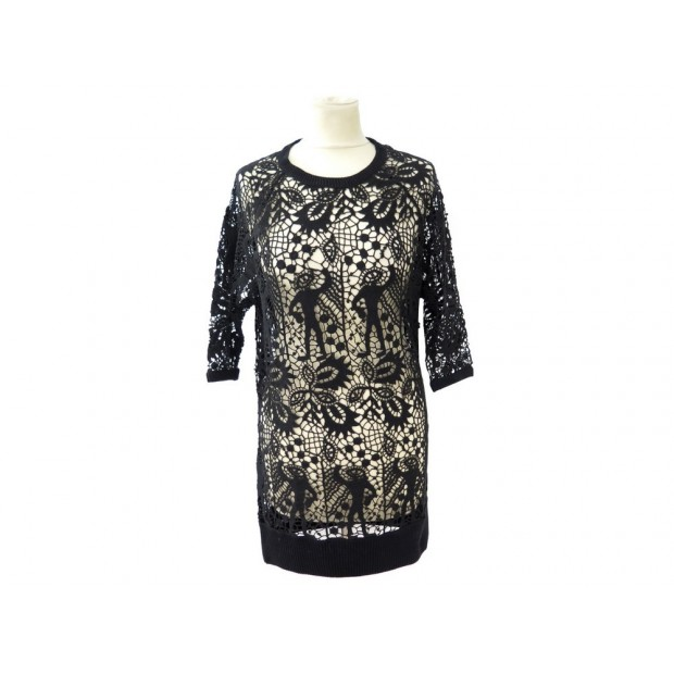 NEUF ROBE ISABEL MARANT CALICO TOP LACE CROCHET 38 M NOIR CROCHETED DRESS 400€