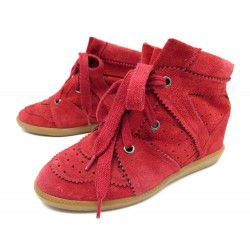 CHAUSSURES ISABEL MARANT PONY OVER BASKET 39 A TALONS COMPENSES DAIM ROUGE  480€ 5565c688538e
