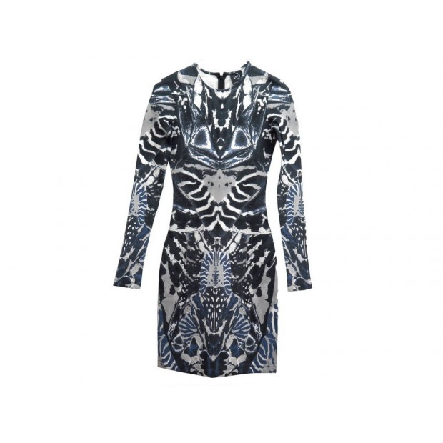 NEUF ROBE ALEXANDER MCQUEEN UP59201300014 IMPRIMEE XS 36 S FR BLEU DRESS 1795€