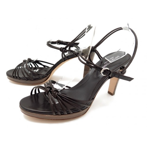 NEUF CHAUSSURES SERGIO ROSSI SANDALES 39 CUIR MARRON BOITE LEATHER SANDALS 650€