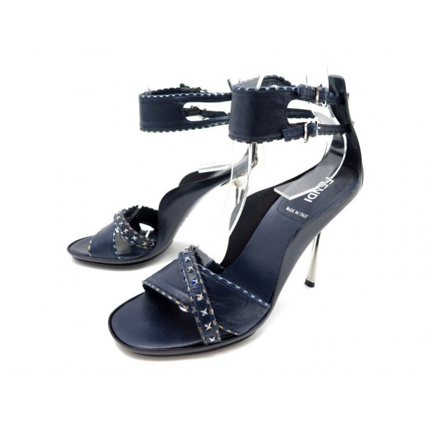NEUF CHAUSSURES FENDI SANDALES 37 CUIR BLEU STRASS BOITE LEATHER SANDALS 490€