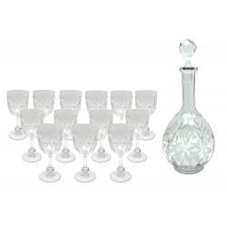 LOT DE 13 VERRES A VIN BACCARAT COLBERT EN CRISTAL CIRCA 1930 + CARAFE GLASSES
