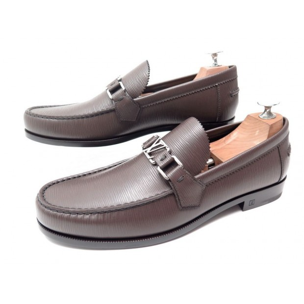 NEUF CHAUSSURES LOUIS VUITTON MAJOR LOAFER 9 43 1A2EUJ MOCASSINS CUIR EPI 640€