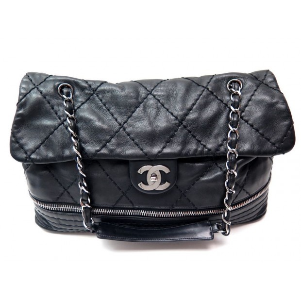 SAC A MAIN CHANEL TIMELESSE ZIP MATELASSE CUIR NOIR BLACK LEATHER HAND BAG 4200€