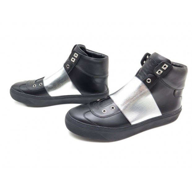 NEUF CHAUSSURE JIMMY CHOO BASKETS ARCHIE 45 CUIR NOIR BANDE ARGENT SNEAKERS 680€