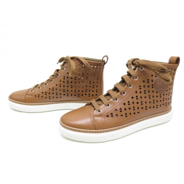 NEUF CHAUSSURES HERMES JIMMY BASKETS MONTANTES PERFOREES 41 CUIR SNEAKERS 730€