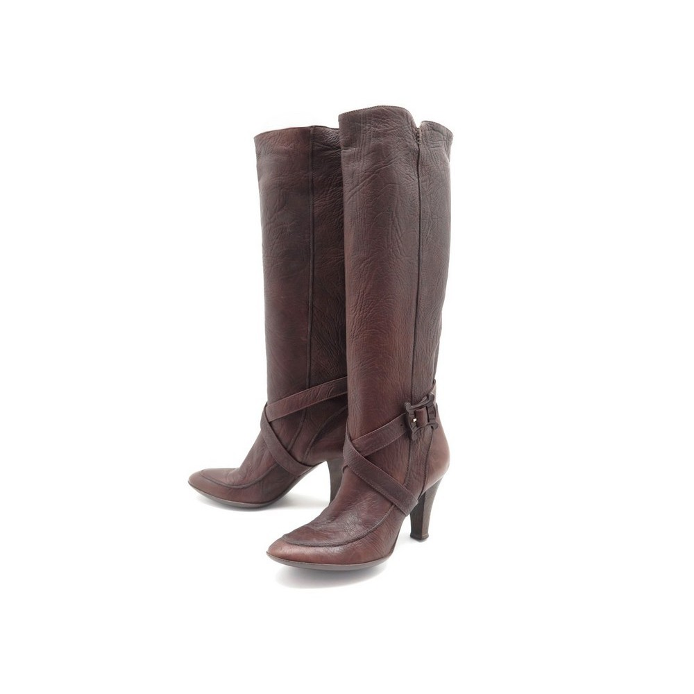 TALONS A MARRON SHOES 1000 LEATHER CELINE EN BOTTES 40 BOOTS CUIR CHAUSSURES xfFAOtq