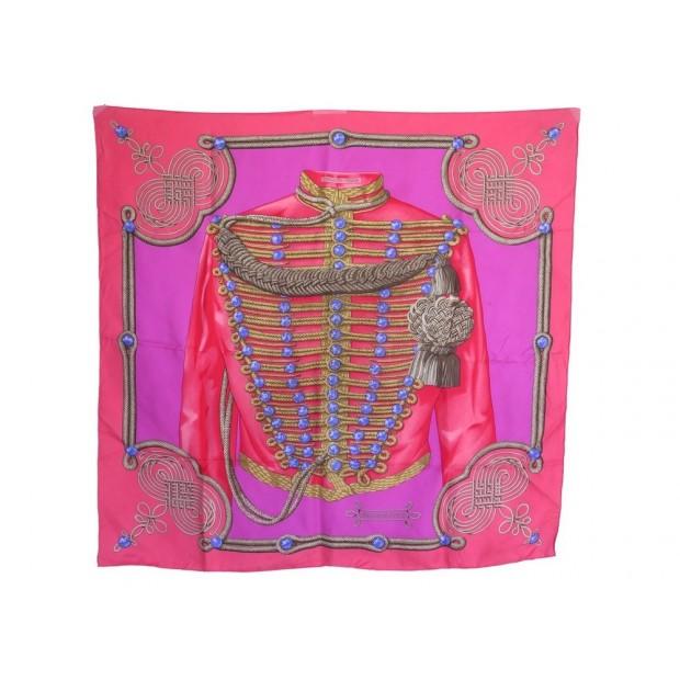 FOULARD HERMES BRANDEBOURGS CATHY LATHAM CARRE EN SOIE ROSE PINK SILK SCARF 360€