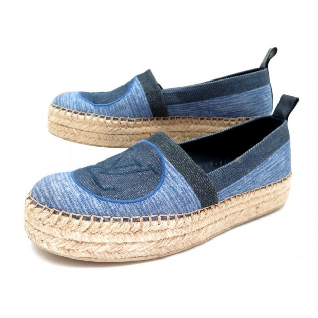 CHAUSSURES LOUIS VUITTON ESPADRILLES BLUE SHORE 39 EN TOILE BLEU SHOES 650€