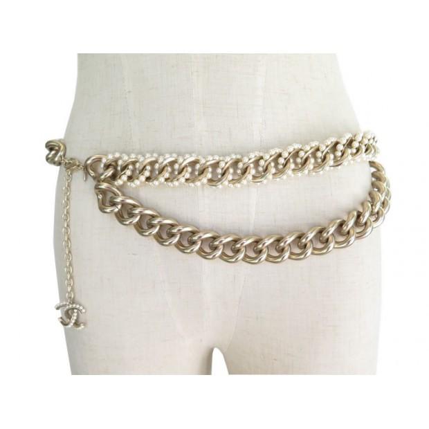 meilleure sélection c6940 7bf1c ceinture chanel logo cc t85 metal dore perles