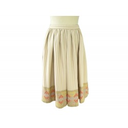 NEUF JUPE HERMES TAILLE HAUTE FRONCEE 38 M CREPE DE SOIE GEORGETTE SKIRT 1800€