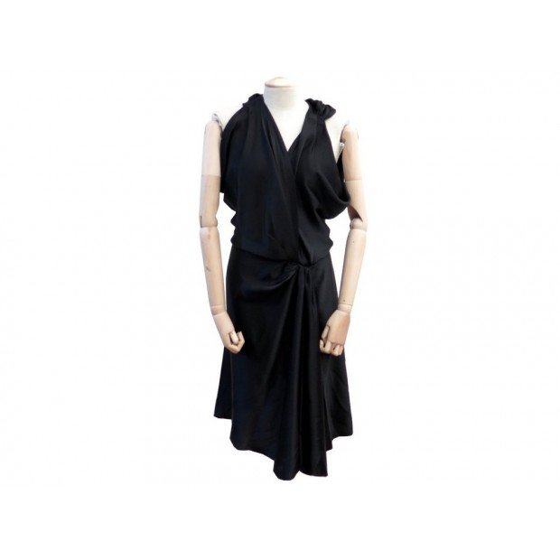 ROBE MI LONGUE BALENCIAGA SILK 40 M EN SOIE NOIR SOIREE BLACK SILK DRESS 1150€