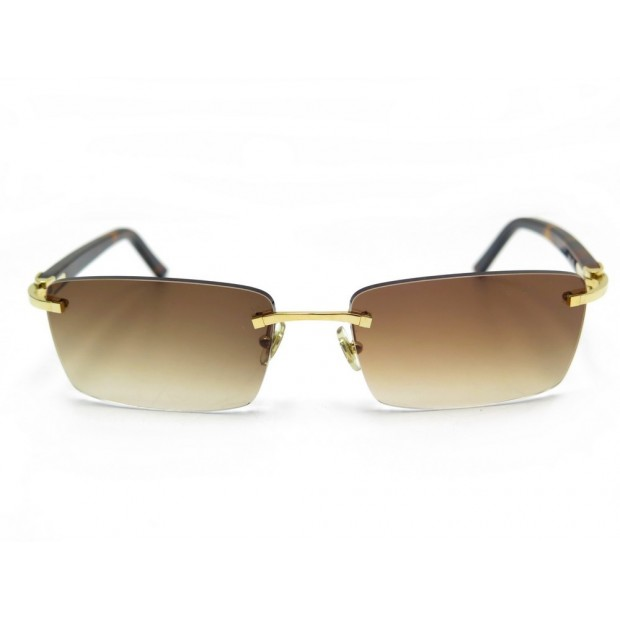 LUNETTES DE SOLEIL CARTIER DECOR C MARRON & METAL DORE BROWN SUNGLASSES 1700€