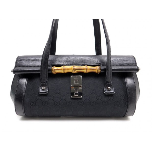 SAC A MAIN GUCCI BAMBOO 111713 EN TOILE ET CUIR NOIR CANVAS HAND BAG PURSE 1000€