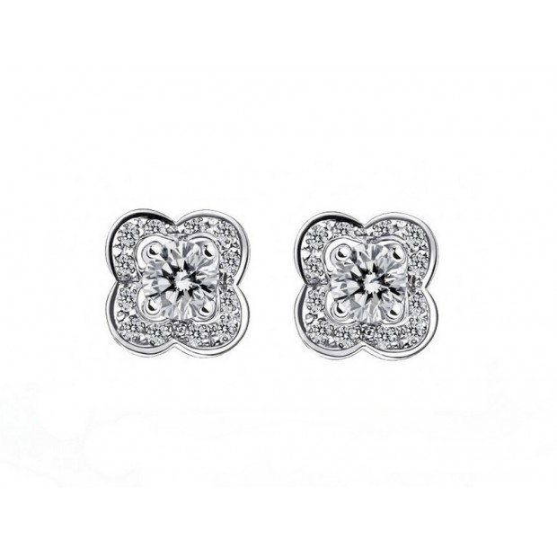 NEUF BOUCLES D'OREILLES MAUBOUSSIN CHANCE OF LOVE DIAMANTS EN OR BLANC 18K 1695€