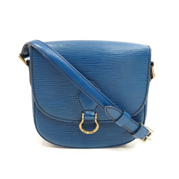 VINTAGE SAC A MAIN LOUIS VUITTON SAINT CLOUD EN CUIR EPI BLEU BANDOULIERE 1100€