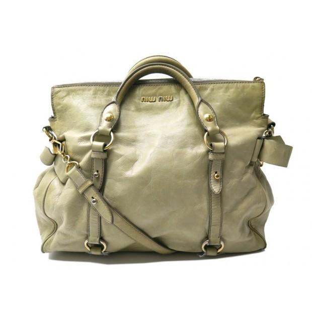 SAC A MAIN MIU MIU VITELLO LUX BANDOULIERE EN CUIR VERT HAND BAG PURSE 1180€