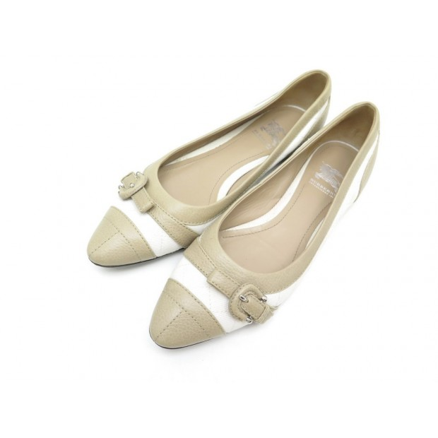 CHAUSSURES BALLERINES A BOUCLE BURBERRY 36.5 37 CUIR BEIGE BALLERINA SHOES 340€