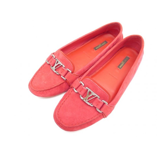 CHAUSSURES LOUIS VUITTON MOCASSINS OXFORD 38.5 VEAU VELOURS ROUGE SHOES 420€