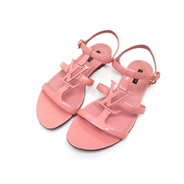 CHAUSSURES LOUIS VUITTON SANDALES PLATES 39 LOGO LV CUIR ROSE FLAT SANDALS 550€