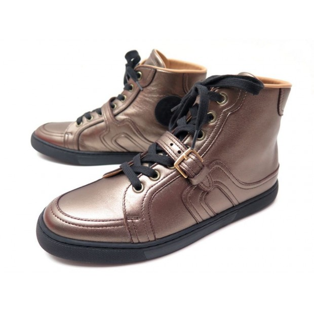 NEUF CHAUSSURES HERMES QUANTUM 37.5 BASKETS CUIR DORE BRONZE SNEAKERS SHOES 720€