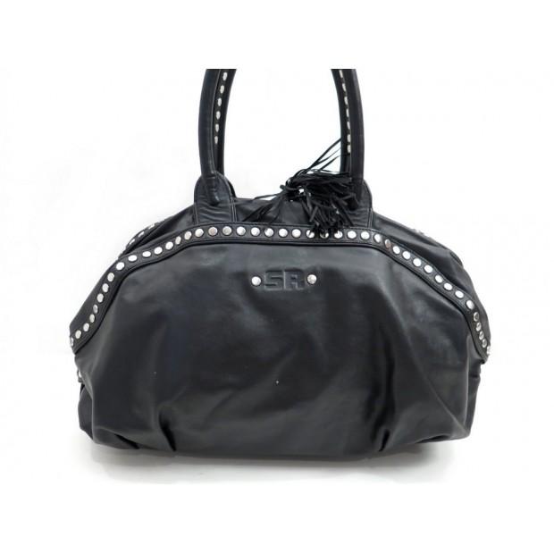 7b5b9b530e sac a main sonia rykiel rock en cuir noir cloute