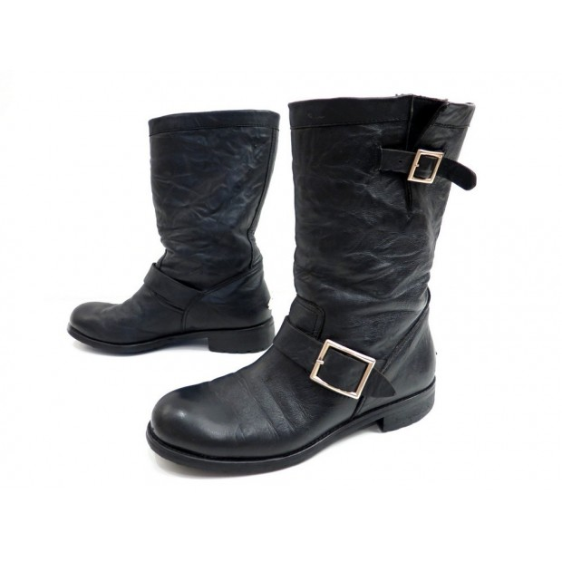 CHAUSSURES BOTTINES JIMMY CHOO YOUTH 39 EN CUIR NOIR A BOUCLES BOOTS SHOES 725€