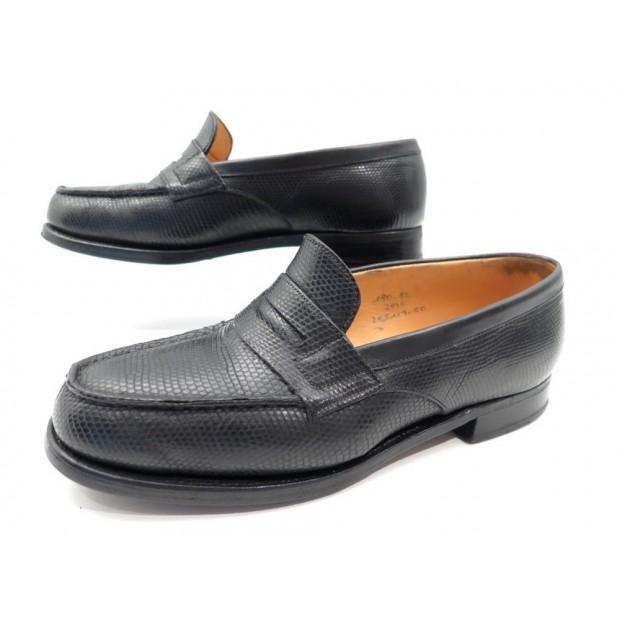 chaussures mocassin jm weston 180 cuir de lezard noir 83fe90101fb