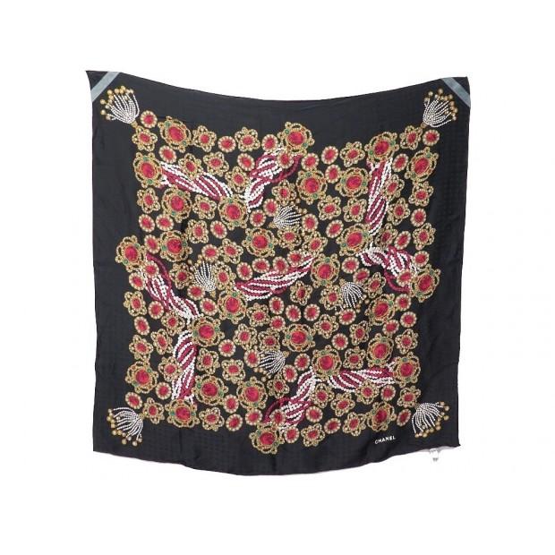 foulard chanel bijoux carre 90 cm en soie noir broches 9abf5373b16