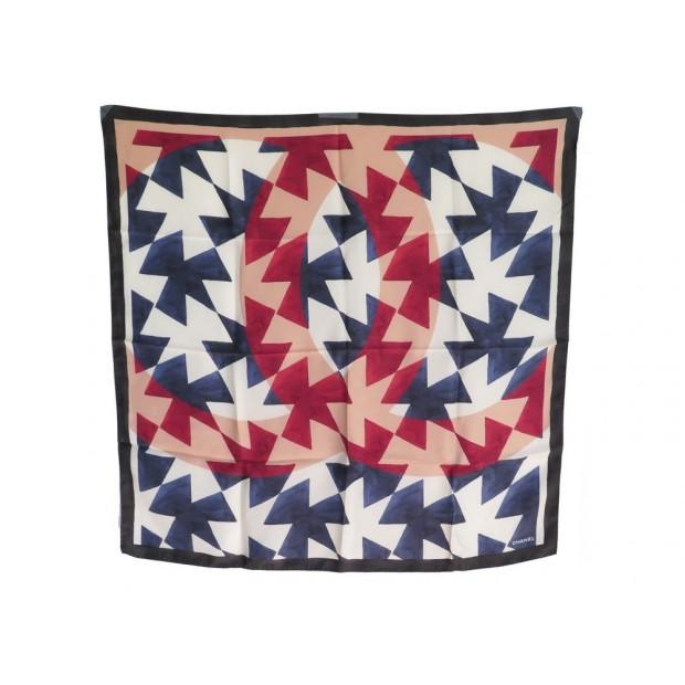 foulard chanel logo cc en soie bleue rouge add40584718