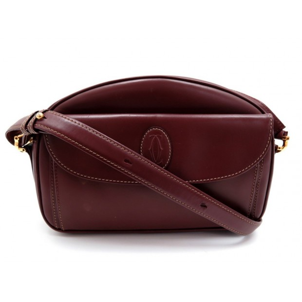 VINTAGE SAC A MAIN MUST DE CARTIER BESACE BANDOULIERE CUIR BORDEAUX PURSE 1440€