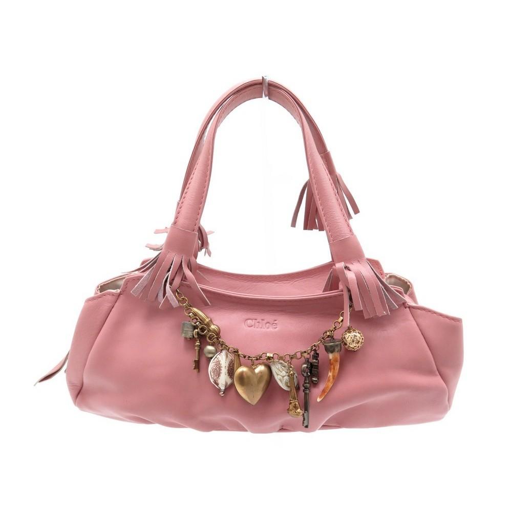 pas cher pour réduction f3e88 11450 sac a main chloe breloques en cuir rose pink leather
