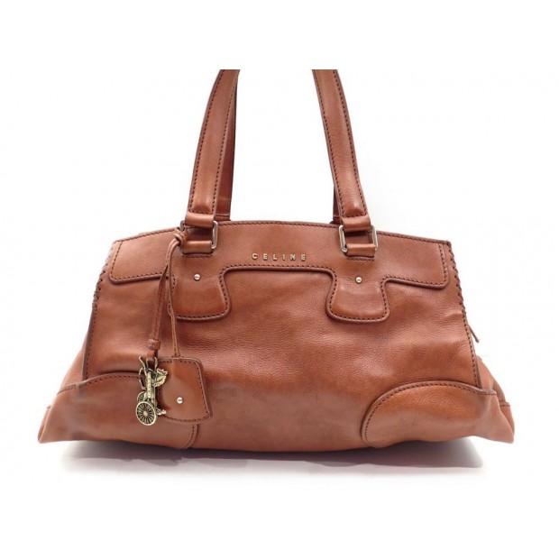 SAC A MAIN CELINE 43CM EN CUIR MARRON PORTE EPAULE BROWN HAND BAG PURSE 1000€