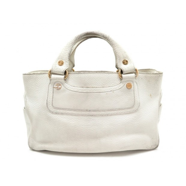 SAC A MAIN CELINE BOOGIE 32 CM CABAS EN CUIR BLANC LEATHER HAND BAG PURSE 950€