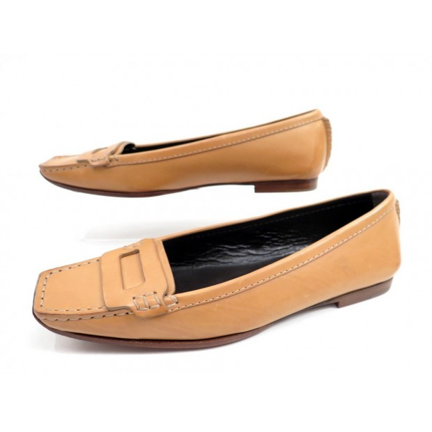 NEUF CHAUSSURES ROGER VIVIER VOLPE 36.5 MOCASSINS CUIR GOLD LEATHER SHOES 650€
