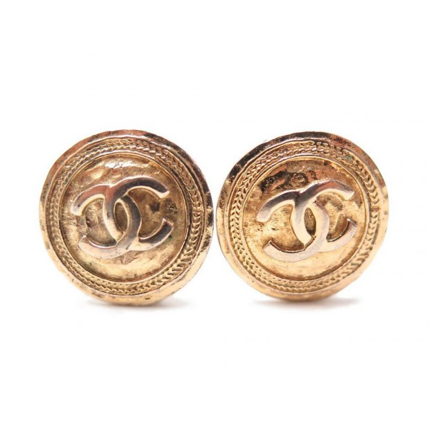 VINTAGE BOUCLES D'OREILLES A CLIP CHANEL RONDES LOGO CC METAL DORE EARRINGS 360€