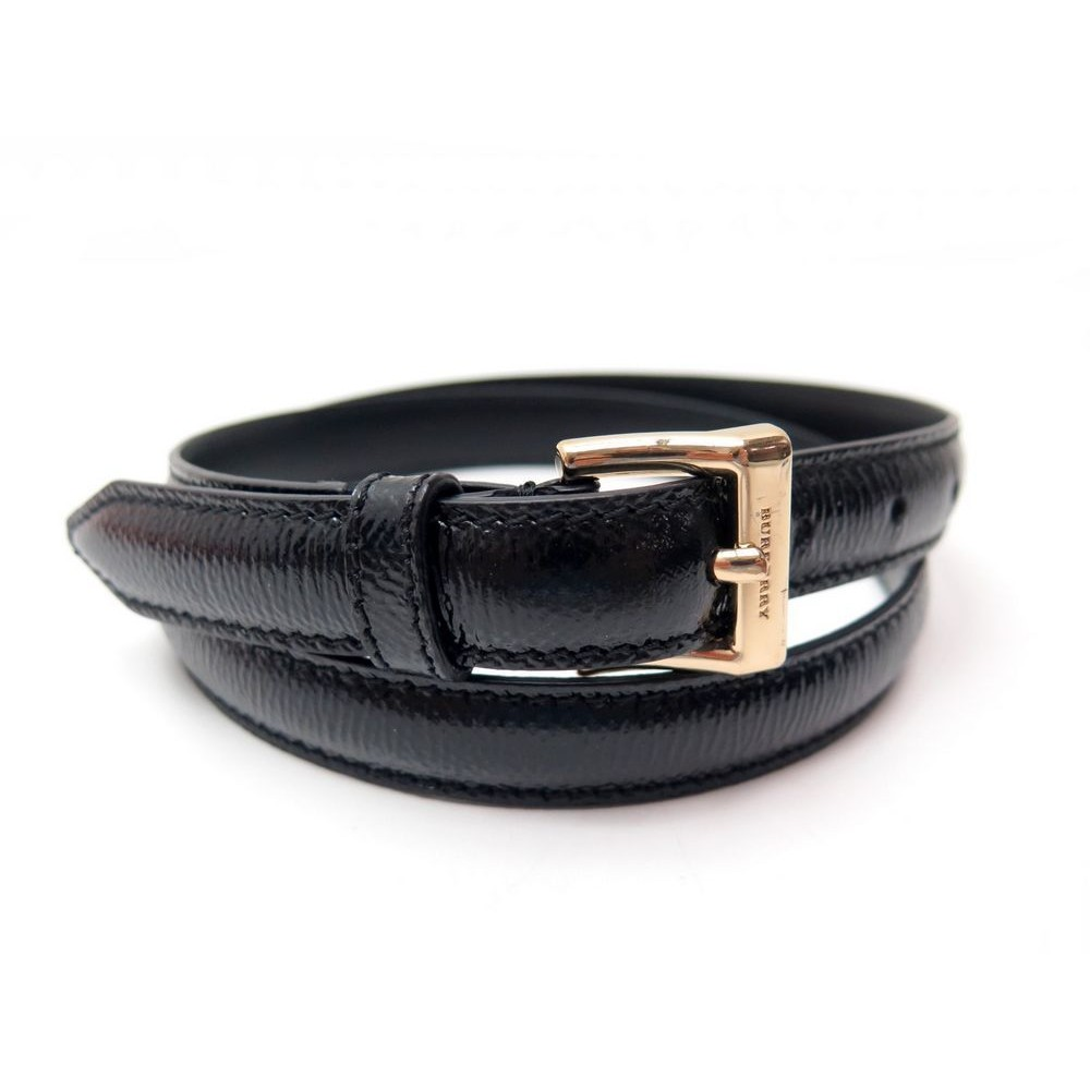 b8c43878102b NEUF CEINTURE BURBERRY T80 CUIR VERNI NOIR BOUCLE DOREE BLACK LEATHER BELT  280€. Loading zoom