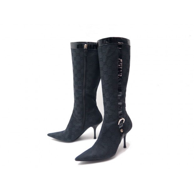 NEUF CHAUSSURES GUCCI TOILE MONOGRAMMEE 134865 36 IT 37 BOTTES NOIRE BOOTS 1390€