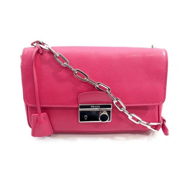 SAC A MAIN PRADA BT0974 BANDOULIERE CUIR ROSE SAFFIANO CROSS BODY HAND BAG 1600€