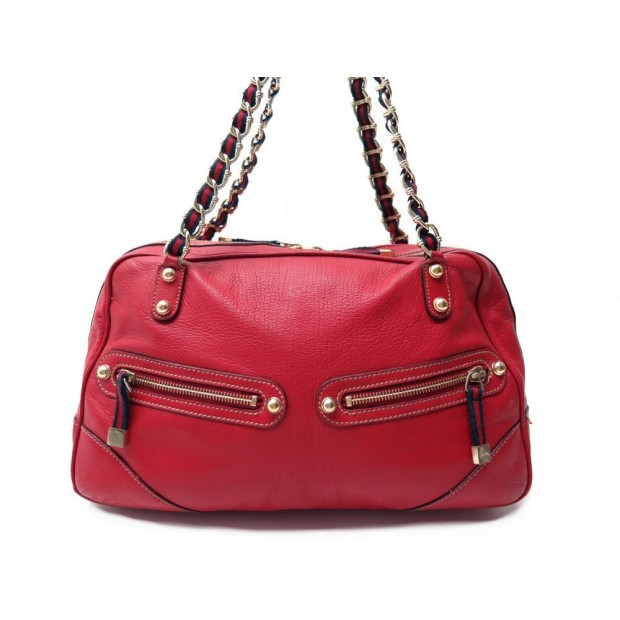 SAC A MAIN GUCCI CHAINE WEB BOSTON 153013 CUIR ROUGE BESACE RED PURSE TOTE 1200€