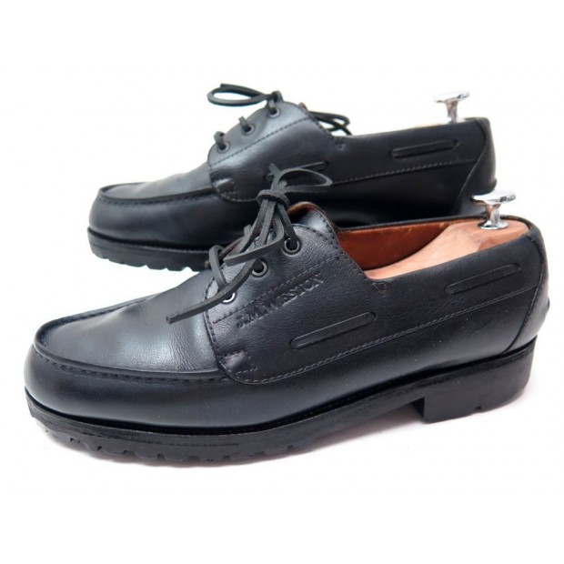 CHAUSSURES JM WESTON BATEAU 690 7D 41 DERBY CUIR NOIR BLACK LEATHER SHOES 690€