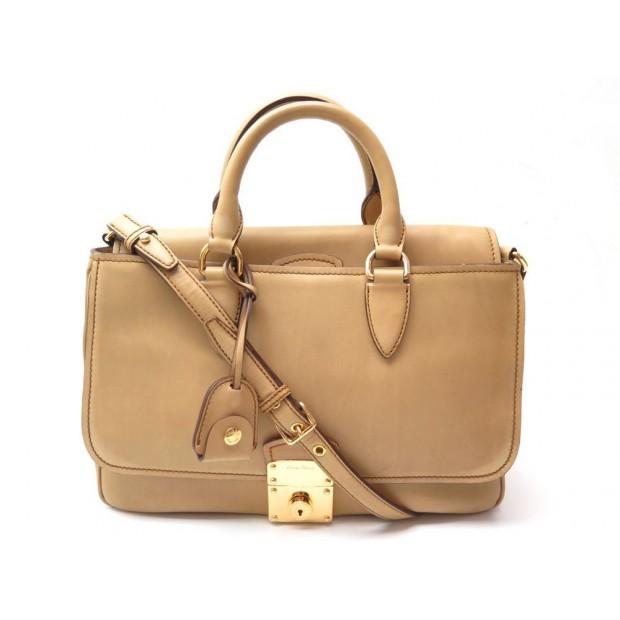 SAC A MAIN MIU MIU EN CUIR BEIGE PATINE BANDOULIERE LEATHER HAND BAG PURSE 1600€